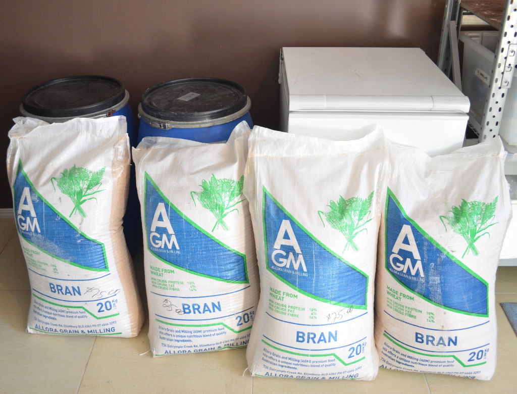 Photo of 4 20kg bags of wheat bran, two large blue storage drums and a white chest freezer. Bran is used for a commercial mealworm farm and stored in the drums. Bags of bran are placed in the freezer to kill pests.