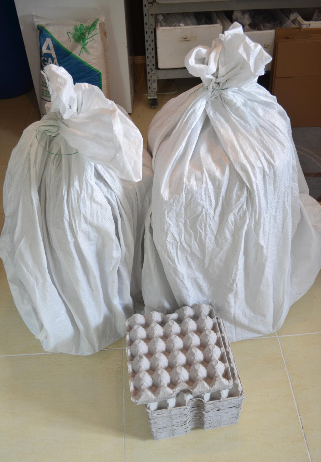 photo of two piles of egg cartons stored in large white bags. Bags prevent pests infesting egg cartons for insect farms.