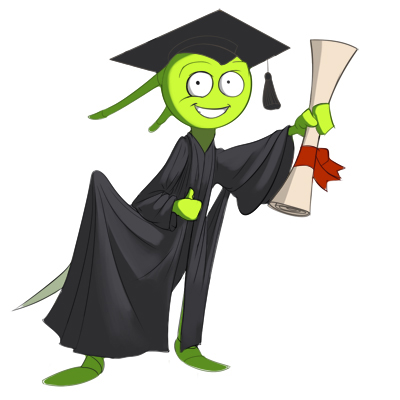 Cartoon of a cricket in a graduation suite to receive his qualification. Breedinginsects.com insect breeding training services.